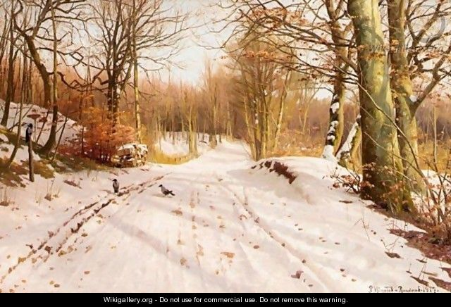 Snowy Path In The Afternoon Sun - Peder Monsted