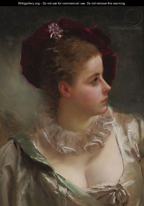 Young Beauty With Red Hat - Gustave Jean Jacquet