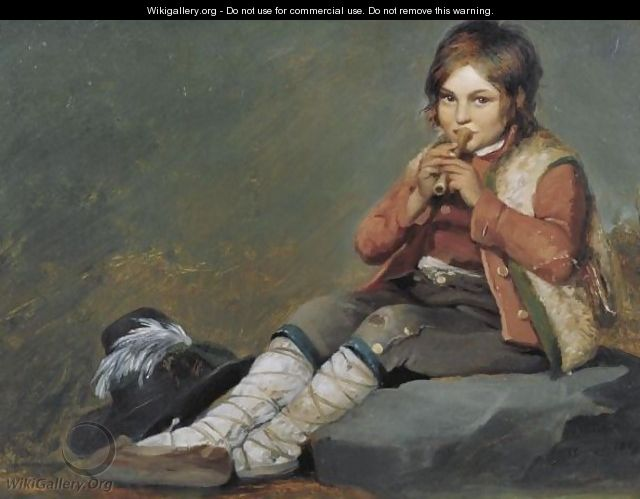 Young Boy Playing The Flute - French School