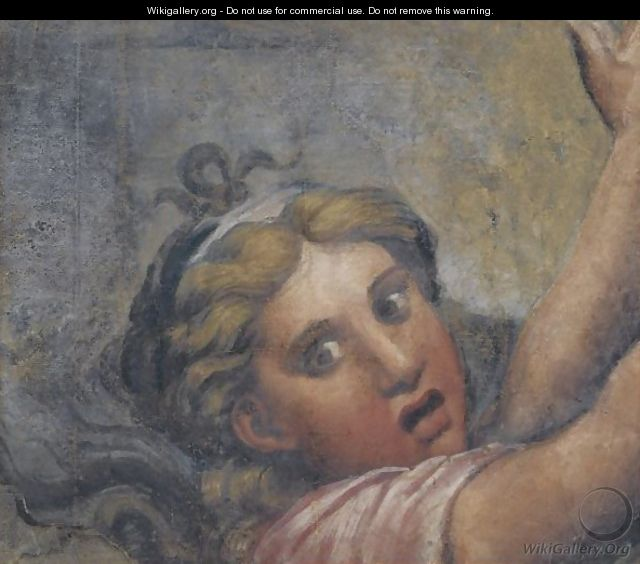 Head And Outstretched Arms Of A Fleeing Girl - (after) Giulio Pippi, Called Giulio Romano