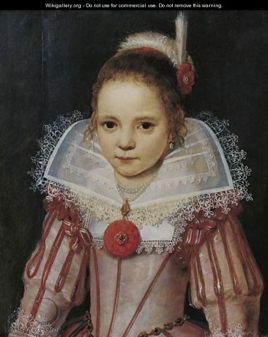 Portrait Of A Young Girl In A Pink Dress With Red Trim - Cornelis De Vos