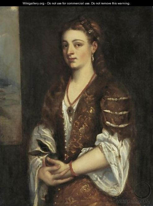 Young Woman Holding An Apple - (after) Tiziano Vecellio (Titian)