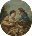 A Young Woman And Youth Placing Young Birds In A Cage The Bird Nesters - François Boucher