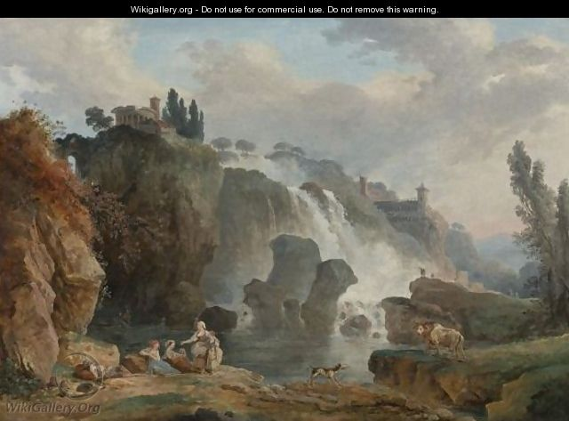 The Cascades At Tivoli With The Temple Of Vesta, Some Figures Resting In The Foreground. - Hubert Robert