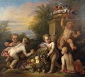 Putti Playing In A Garden - (after) Jacob De Wit