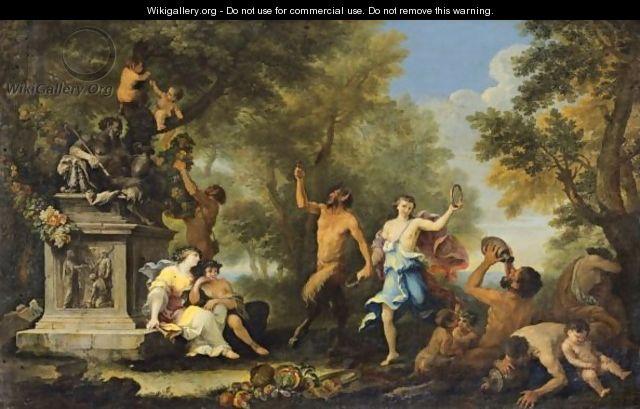 Bacchanale Offering Various Goods To Pan Statue - Filippo Lauri