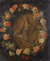 Garland Of Flowers With The Portrait Of Louis XIV In Profile - Jean-Baptiste Monnoyer
