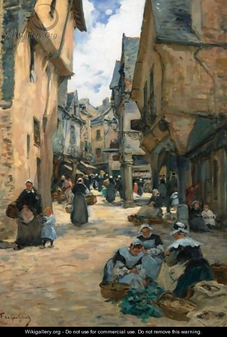 A Busy Street In Vire - Fernand Marie Eugene Legout-Gerard