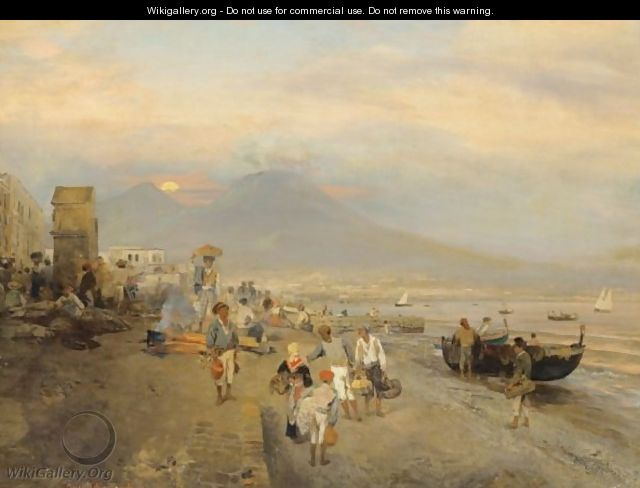 View Of Naples, Sunset - Oswald Achenbach