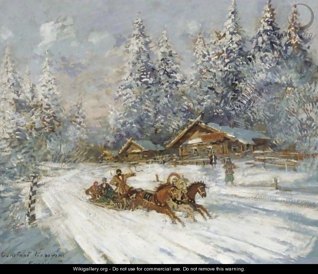 Troika Racing Through The Snow - Konstantin Alexeievitch Korovin