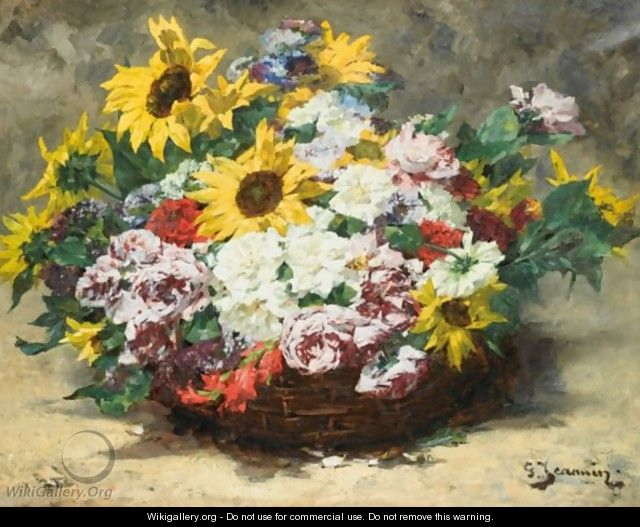 Basket Of Roses And Sunflowers - Georges Jeannin