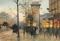 Busy Boulevard By The Porte Saint-Denis - Eugene Galien-Laloue