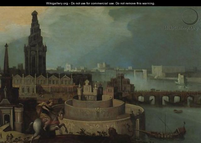 An Imaginary City By A River With A Horseman Hunting A Lion - (after) Louis De Caullery