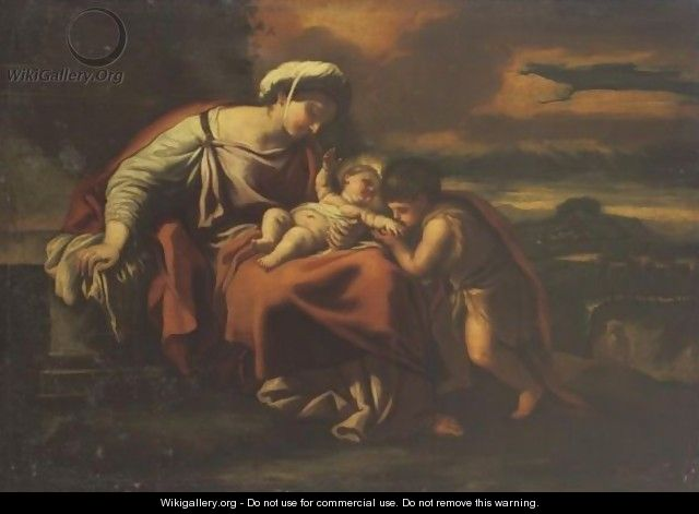 Madonna And Child With St. John The Baptist - (after) Luca Giordano