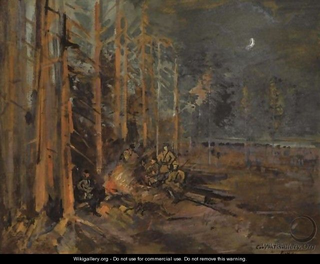 Soldiers Round The Forest Campfire - Konstantin Alexeievitch Korovin