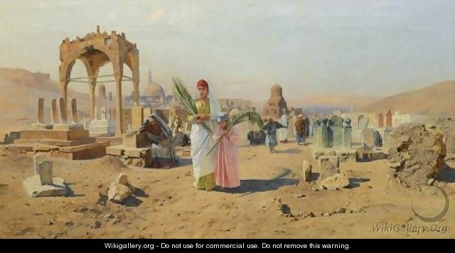 Figures Bearing Palm Leaves On The Outskirts Of Cairo - Franz Xavier Kosler