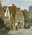 Dutch Street With A Church Tower - Willem Koekkoek