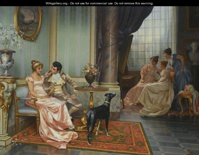 Interior With Elegant Figures - Vittorio Reggianini