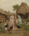 Feeding The Turkeys - Marie Francois Firmin-Girard