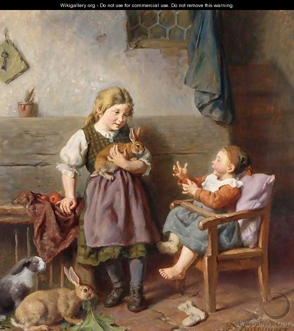 Children Playing With Rabbits - Felix Schlesinger
