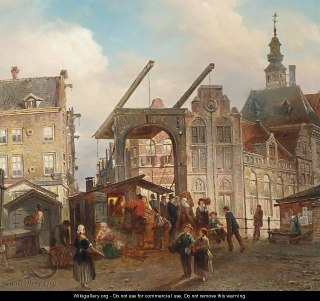Many Figures Near A Drawbridge In A Dutch Town - Elias Pieter van Bommel