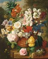 A Still Life With Tulips, Roses, Peonies And Various Other Flowers In A Terracotta Vase And A Bird's Nest On A Marble Ledge - Dutch School
