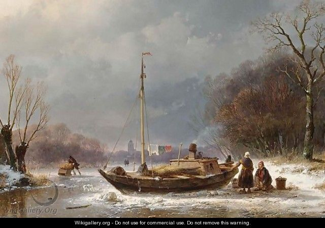 A Wintry Scene With Figures Near A Boat On The Ice - Andreas Schelfhout