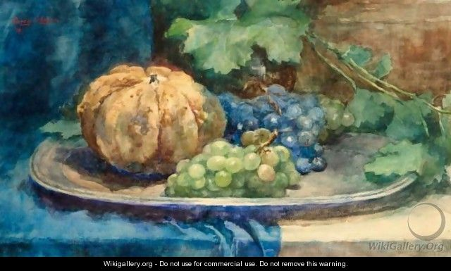 A Still Life With Grapes And A Pumpkin - Cornelie Josephine Wilhelmina Slager