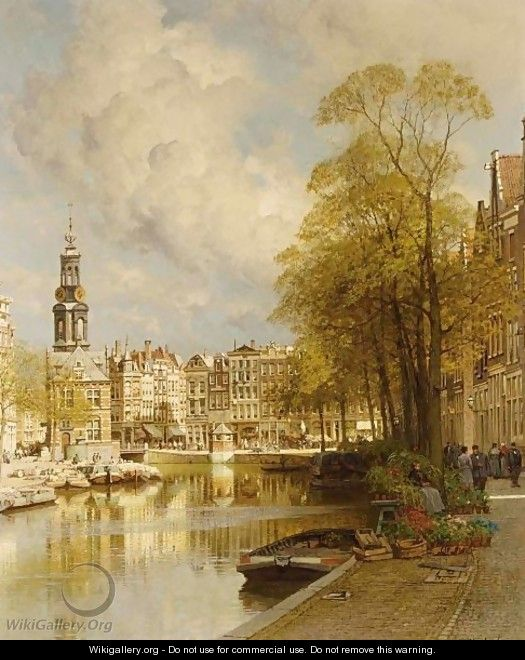 A View From The Singel On The Munttoren, Amsterdam - Johannes Christiaan Karel Klinkenberg