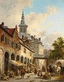 A Busy Market On A Town Square - Jacques Carabain