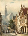 Many Figures In The Streets Of Haarlem - Cornelis Springer