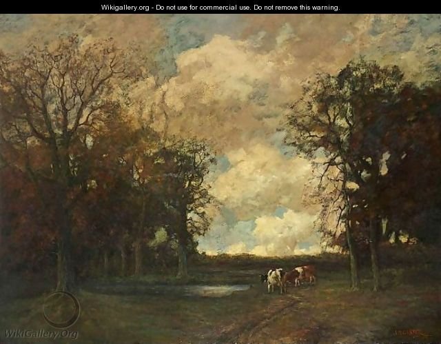 Cows In A Forest Landscape - Arnold Marc Gorter