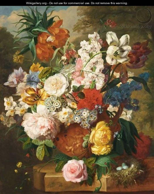 A Still Life With Tulips, Roses, Peonies And Various Other Flowers - Dutch School
