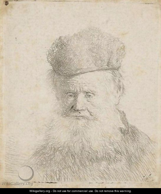 Bust Of An Old Man With A Fur Cap And Flowing Beard, Nearly Full Face, Eyes Direct - Rembrandt Van Rijn