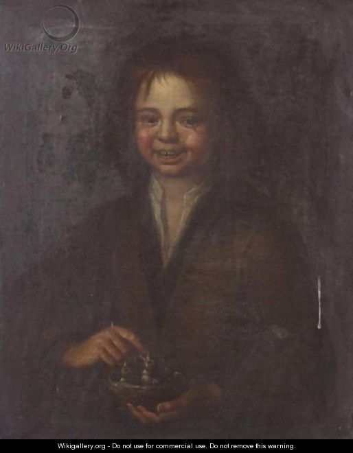 Portrait Of A Young Boy, Half Length, Holding A Bird