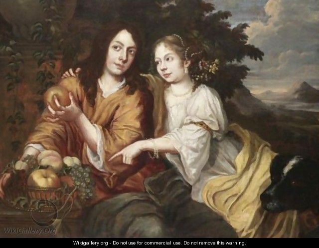 Double Portrait Of A Lady And A Gentleman Seated In A Landscape - Dutch School