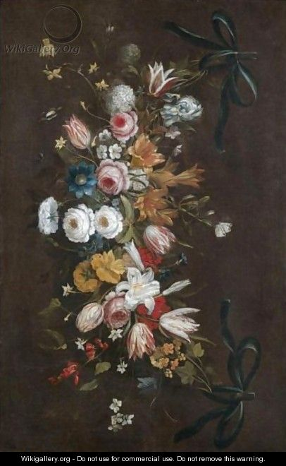 A Swag Of Roses, Tulips, Lilies, Irises, Honeysuckle And Various Other Flowers - (after) Jan The Elder Brueghel