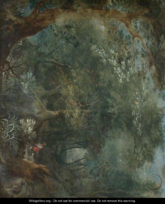 A Wooded Landscape With Two Huntsmen Aand Their Hounds - (after) Jan The Elder Brueghel