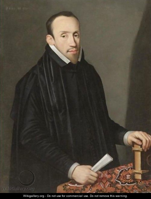 Portrait Of A Gentleman, Half Length, Wearing Black And Holding A Piece Of Paper And Resting A Hand On A Book - Spanish School