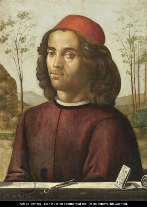 Portrait Of A Gentleman, Head And Shoulders, Wearing A Crimson Tunic, With A Pair Of Dividers On A Stone Ledge - (after) Domenico Ghirlandaio