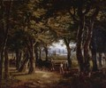 The Edge Of A Forest With An Elegant Couple And A Caleche - French School