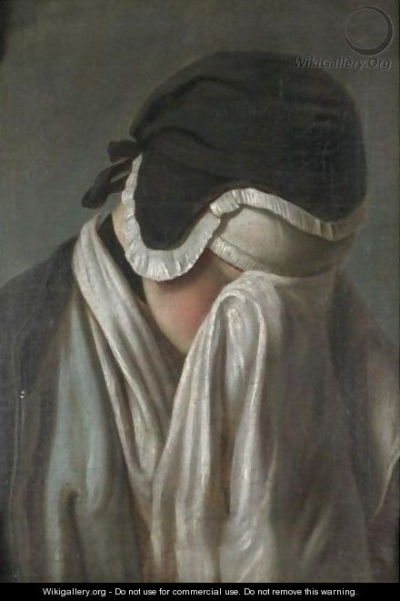 Portrait Of A Young Girl, Head And Shoulders, Hiding Her Eyes - (after) Pietro Antonio Rotari