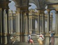 A Palace Courtyard With Musicians And Dancers - North-Italian School