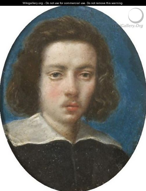 Portrait Of A Gentleman, Head And Shoulders, Wearing Black With A White Ruff, With A Blue Background - (after) Cesare Dandini