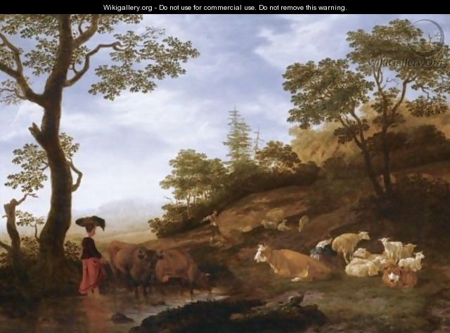 A Landscape With Sheep, Cattle And Herdsmen, With A Town Beyond - Jacob Gerritsz. Von Bemmel