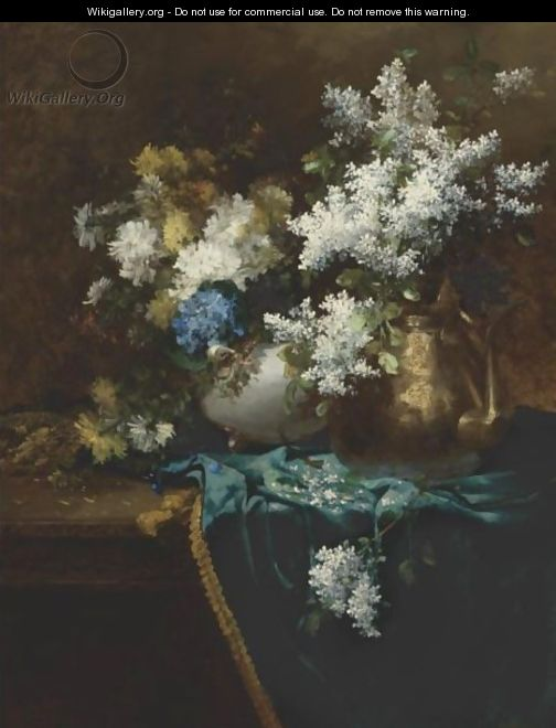 Still Life With Lilacs, Hydrangea And Chrysanthemums - Jean-Baptiste Robie
