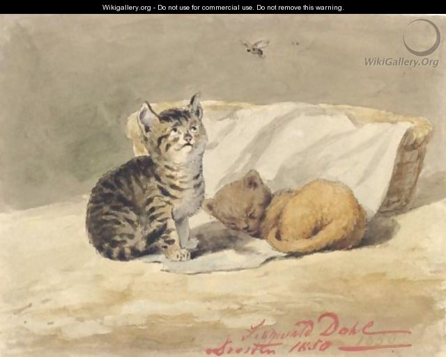 Two Kittens By A Basket One Asleep, The Other Watching An Insect - Johannes Siegwald Dahl