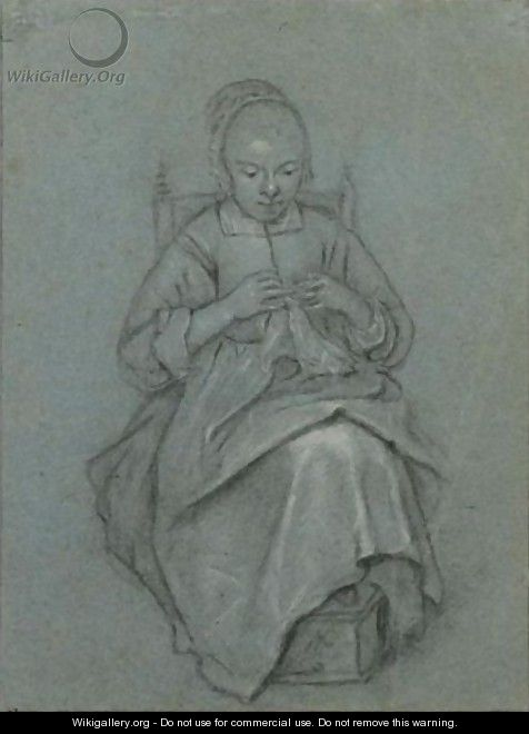 A Seated Young Woman Embroidering A Cloth, Her Feet Resting On A Foot-Warmer - Quiringh Gerritsz. van Brekelenkam