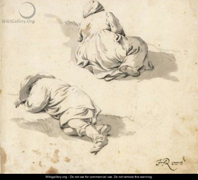 Study Of Two Peasants Sleeping On The Ground - Johann Heinrich Roos