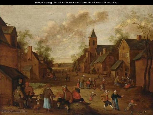 A Village Street With Peasants Conversing And Drinking Near An Inn, A Church To The Right - Cornelius Droochsloot